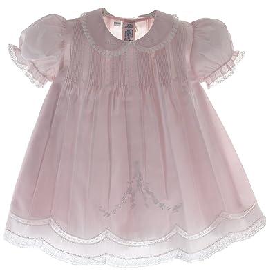 91dd88255 Amazon.com  Baby Girls Pink Slip Dress with Lace Trim Feltman ...