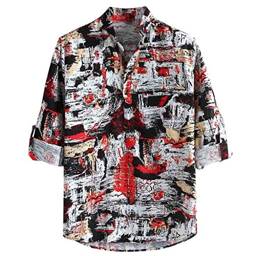 YKARITIANNA Men Casual Printing Vintage Slim Casual Long Sleeve Dress Shirt Blouse Tops 2019 Summer Red
