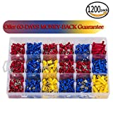 Eagles 1200Pcs Assorted Crimp Terminals, Wire Connectors, Mixed Assorted Lug Kit, Spade Ring Set for Automotive, Electrical Wirings, LED Lighting, Home DIYer(Color Red, Blue Yellow) (TM)