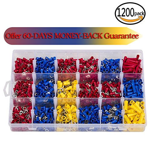 1200Pcs Assorted Crimp Terminals, Wire Connectors, Mixed Assorted Lug Kit, Spade Ring Set for Automotive, Electrical Wirings, LED Lighting, Home DIYer(Color: Red, Blue Yellow) Eagles(TM) (Solderless Lugs Terminal)