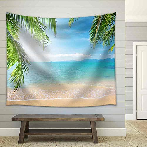 wall26 – Palm and Tropical Beach – Fabric Wall Tapestry Home Decor – 51×60 inches