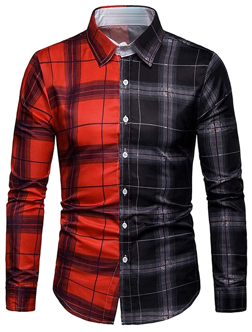 X-Future Mens Button Down Business Checkered Color Block Long Sleeve Dress Shirts