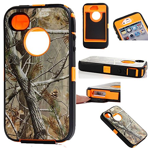 Kecko(TM) Heavy Duty Defender Tough Armor Shockproof Heavy Duty Tree Camo Impact Hybrid Case W/ Built In Screen Protector for iphone 4/4s--Camo Trees on the Core (Tree orange)