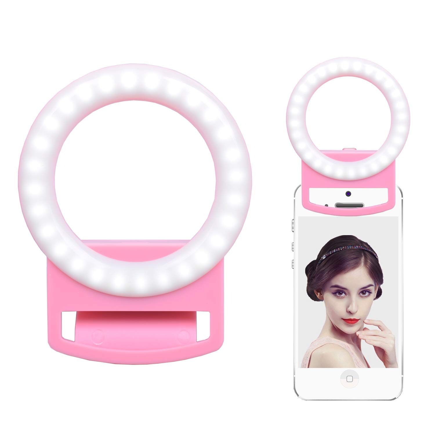 Selfie Light Ring, Selfie LED Light for Phone, Android, Tablet and Photography Camera, Electronics Gifts, Portable Professional Lighting with 9 Lighting Effects and USB Charging (White) Bealive