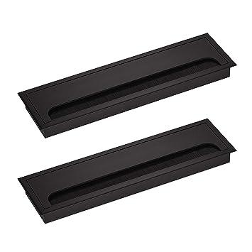 Likerainy Couvercle Passe Câbles Fil Rectangulaire 80x 280mm Pour Encastrer Sur Table De Bureau Organisateur De Cables Pour Meuble Aluminium Noir