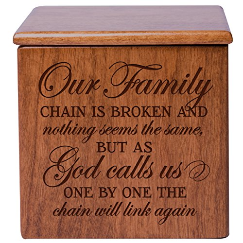 Cherry Keepsake Box - Cremation Urns for Human ashes - SMALL Funeral Urn Keepsake box for Pets - Memorial Gift for home or Columbarium Our Family chain is broken nothing seems the same Holds SMALL portion of ashes (Cherry)