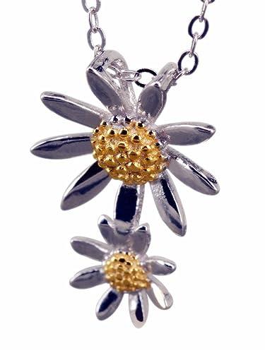 Collier 925 Argent Chaîne En Argent Avec Pendentif Fleur 39 Cm Fine Necklaces & Pendants Precious Metal Without Stones