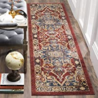 Safavieh Bijar Collection BIJ605R Traditional Oriental Vintage Red and Royal Blue Runner (23 x 14)