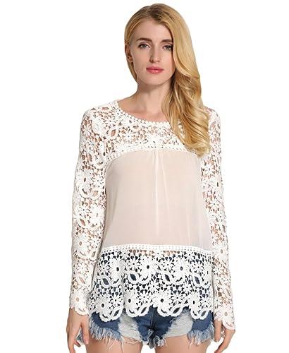 WanYang Blusa Camisetas Color Solido Camisa Del Cordón Manga Costura Larga Elegent Crewneck Tops Mujeres