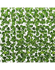 Tebery 165 Feet (24 pcs) Artificial Ivy Garland Foliage Green Leaves Fake Hanging Vine Plant for Wedding Party Garden Wall Decoration