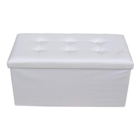 Rebecca Mobili Puf moderno con reposapiés, asiento blanco, muebles para sala de estar, living - Medidas: 38 x 76 x P 38 cm (AxANxF) - Art. RE4620
