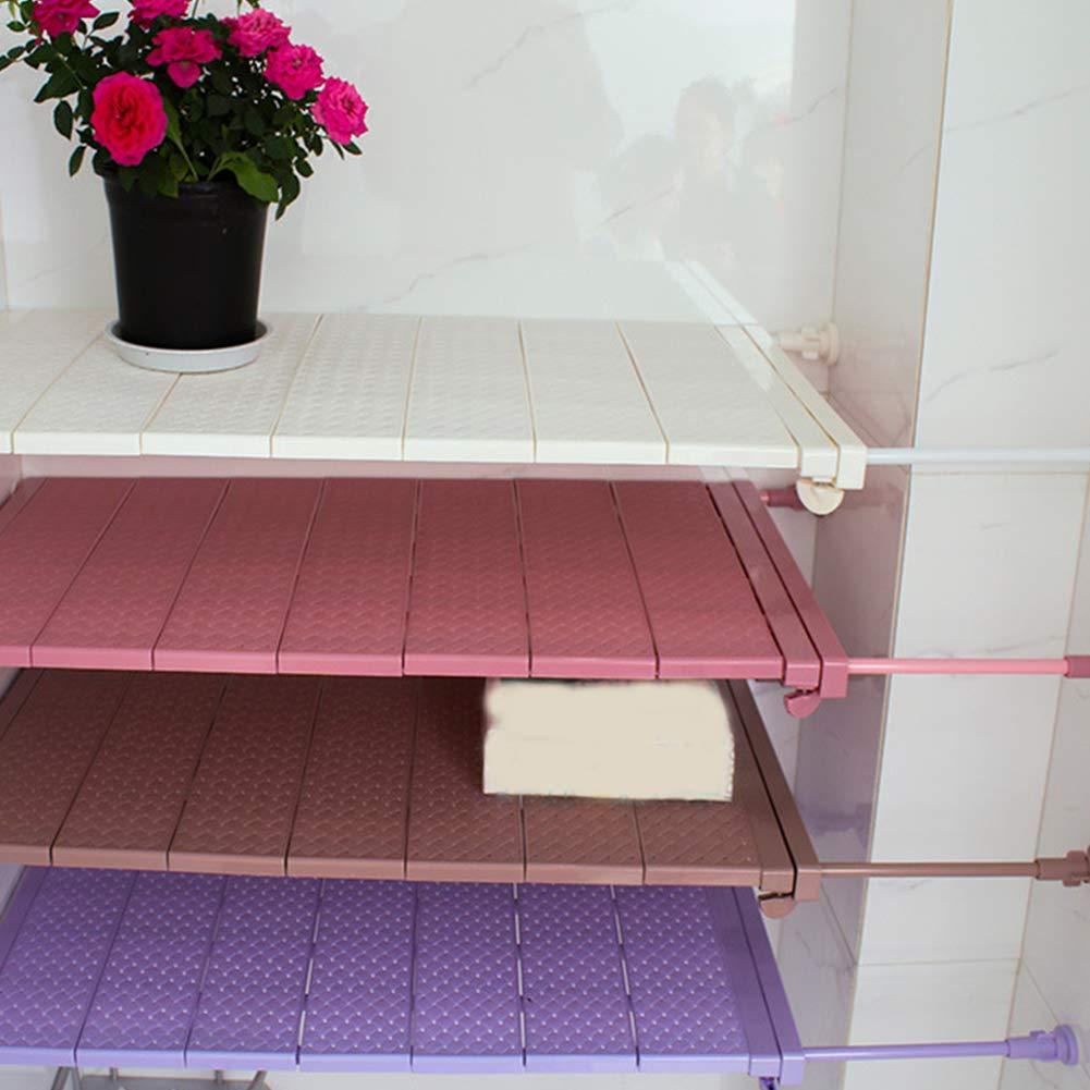Adjustable Storage Rack Wardrobe Cupboard Shelf Expandable Closet Shelf Racks for Wardrobe Bathroom Cupboard 29-46cm,Light Coffee Kitchen Zachao88 Ajustable Shelf Closet Storage Rack Organizer