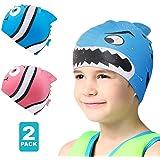 Swim Cap Kids-2 Pack Silicone Fun Swim Caps for...