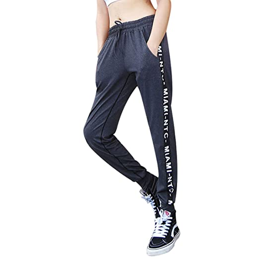 5783f44e8a6046 MISI CHAO Womens Athletic Pants Joggers Sweatpants Black Drawstring Running  Pants Yoga Pants with Pocket for Teen Girls at Amazon Women's Clothing store :