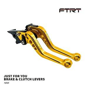 FTRT Adjustable Short Brake Clutch Levers for Kawasaki EX650 Ninja 650R ER-6F ER-6N 2009-2016/ EX400 Ninja 400R ER-4F 2011-2013/ KLE650 VERSYS 650 2009-2014: Gold