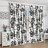 GUUVOR Modern Decor Blackout Curtain Circus Quote and Themed Continous Pattern with Magician Baloons Artwork 2 Panel Sets W96 x L108 Inch Black and White