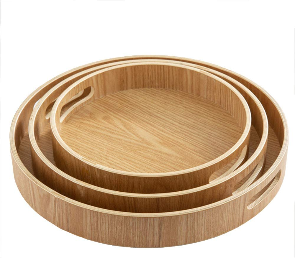 Set of 3 Large Wooden Serving Trays with Handles Nesting Breakfast Serving Trays Decorative Round Wood Display Tray Set Nested Food Tray Butler Serving Tray for kitchen Party Dinner