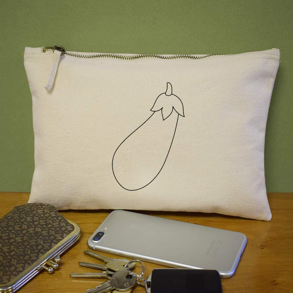 Aubergine Canvas Clutch Bag Accessory Case CL00018278