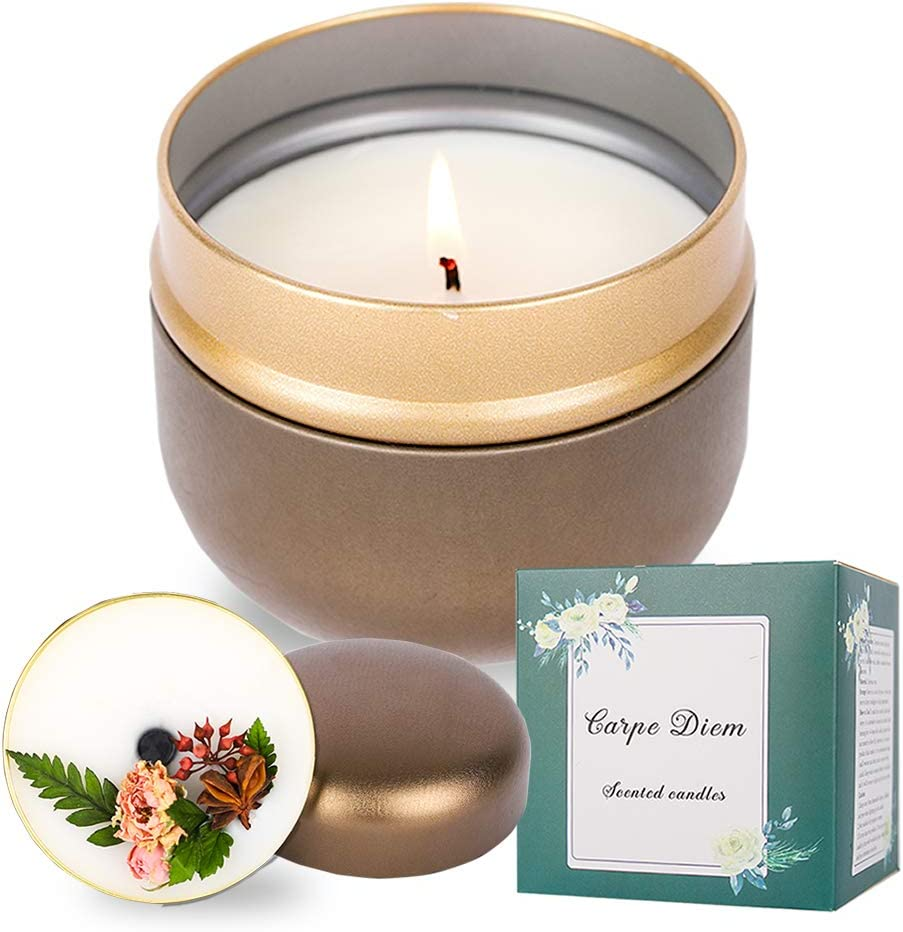 Relaxing Aromatherapy Candles Highly Scented Green Carpe Diem Hand Poured Scented Candles 40 Hour Burn 11.5 oz Long-Lasting and Refreshing Eternal Flower Lavender /& Thyme Gift Box