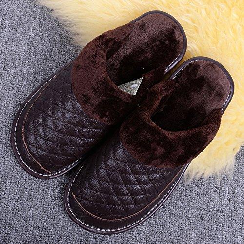 CWAIXXZZ pantofole morbide In pelle di pantofole di cotone home camere interne sono caldi calzature invernali tendine di vacca tra gli uomini e le donne per la ,29=43/44 codice, caffè scuro