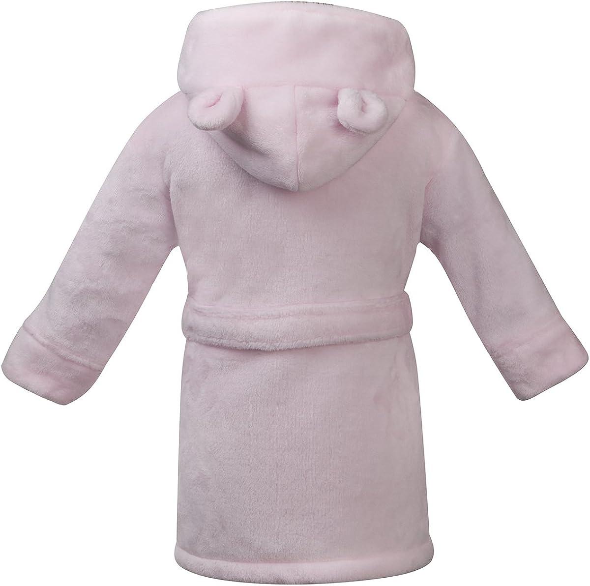 Babytown Baby Girls Velvety Soft Hooded Dressing Gown Pink