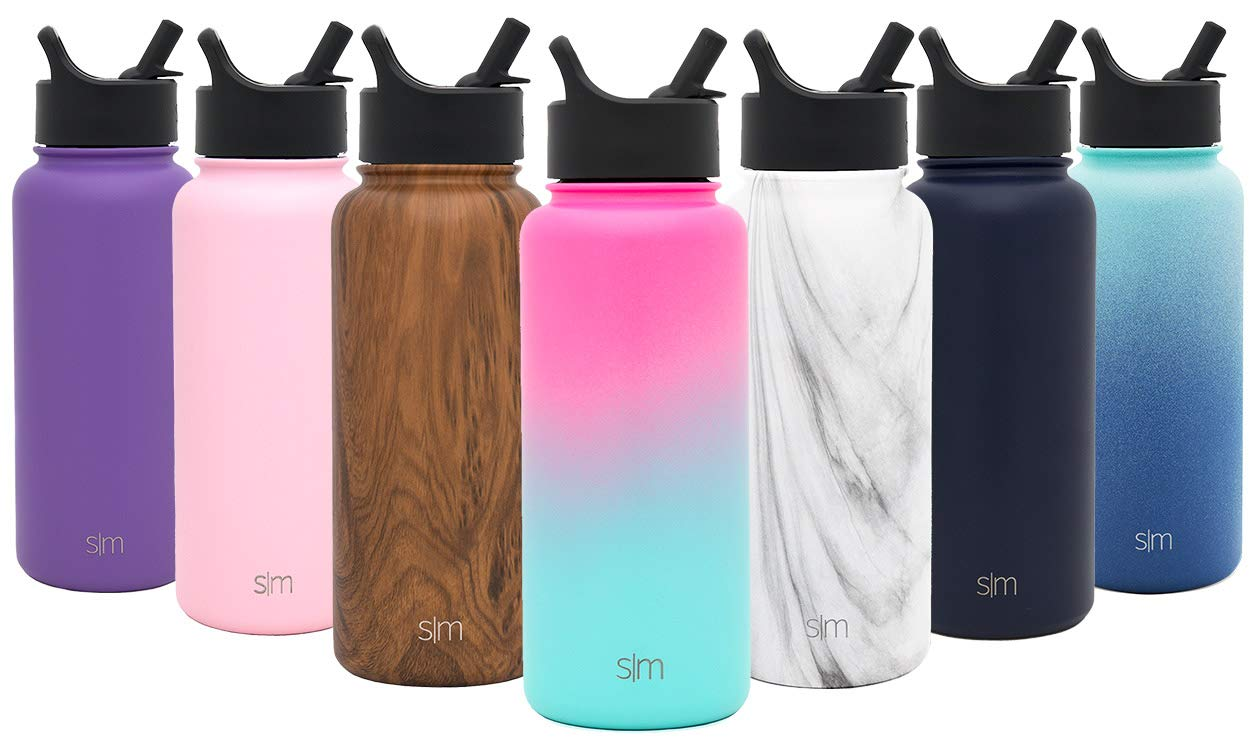Simple Modern 22 oz Summit Water Bottle with Straw Lid - Gifts for Kids Hydro Vacuum Insulated Tumbler Flask Double Wall Liter - 18/8 Stainless Steel Ombre: Sorbet by Simple Modern