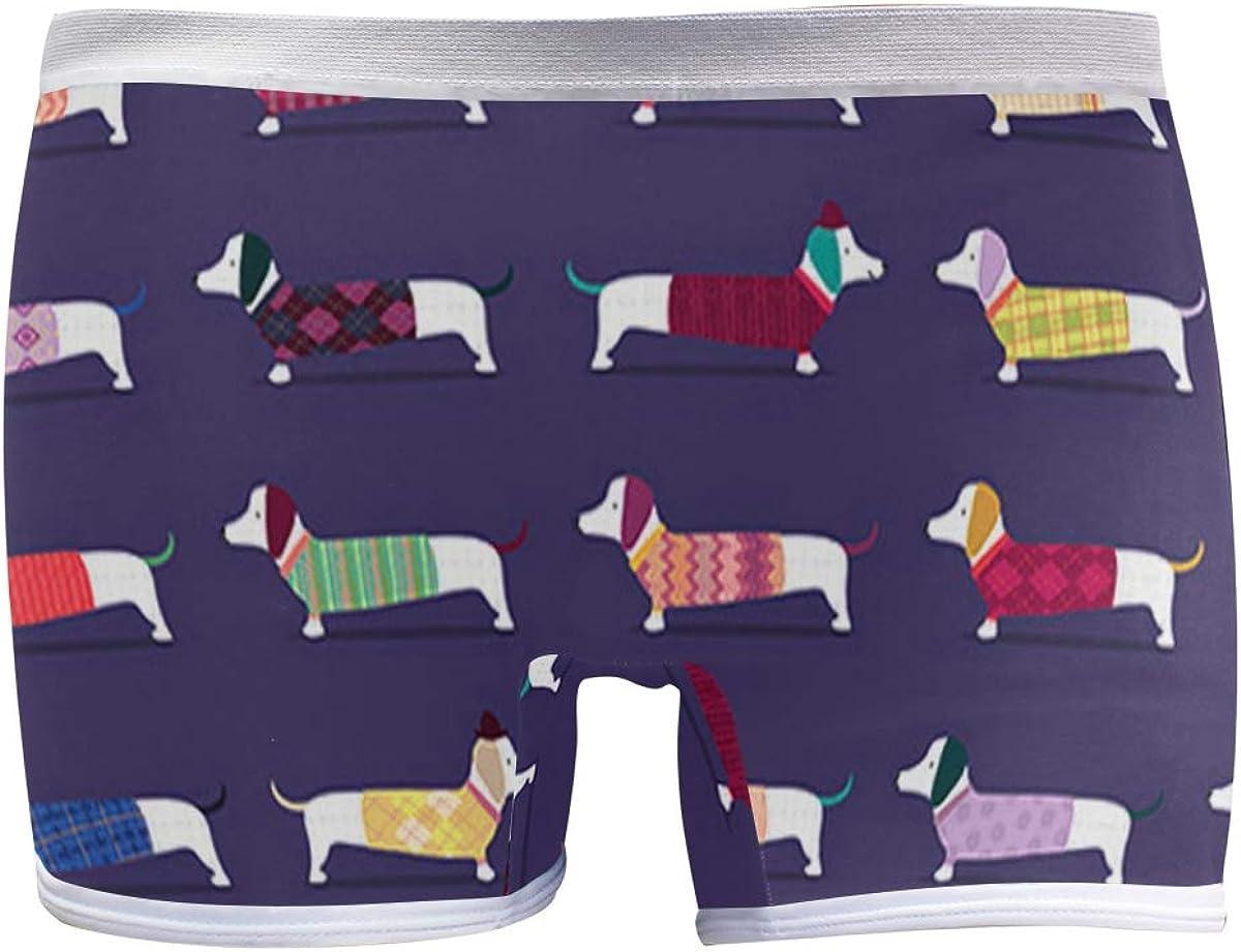 Mens Soft Breathable Cute Dachshund Dogs Art Pattern Underwear Boxer Briefs