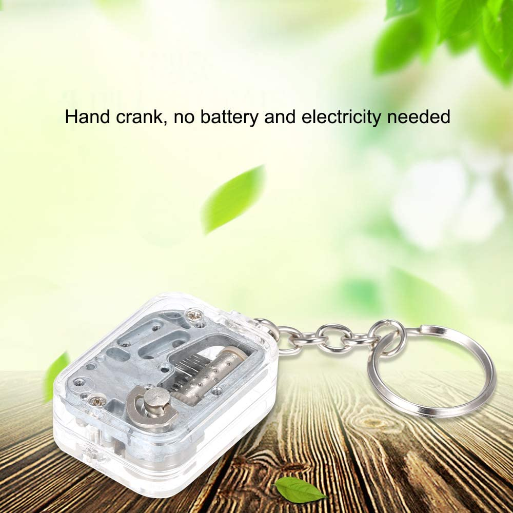 Goolsky Transparent Clear Hand-Operated Movement Music Box Keychain Key Ring Pendants Musical Melody Castle in The Sky Unique Gift