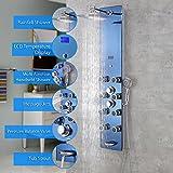Decor Star 027-GS-AQU 51'' Aluminum Safety Aqua Tempered Glass Rainfall Shower Panel Rain Massage System with Jets & Hand Shower