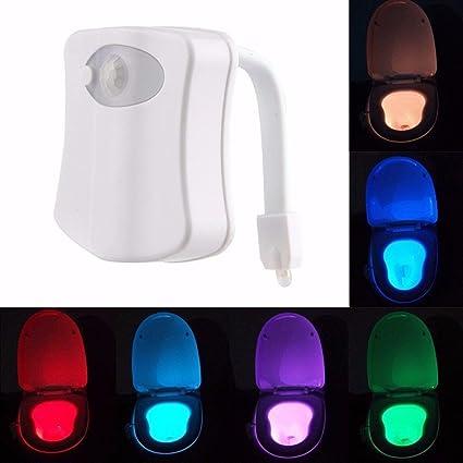 jiastone LED baño luz nocturna PIR sensor de movimiento activado asiento 8 Cambia de Color