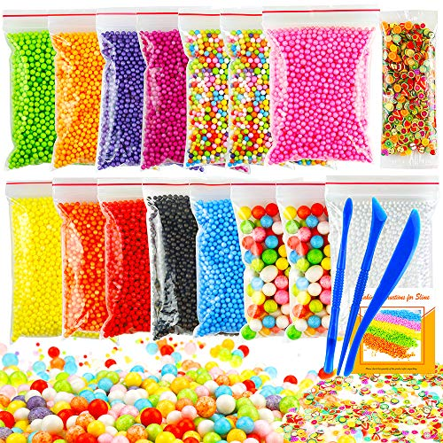 OPount 19 Pack Colorful Foam Balls Made of Styrofoam for Slime 0.08-0.35 Inch with Tools and Fruit Slice for Slime Making Art DIY Craft(Not Contain Slime)