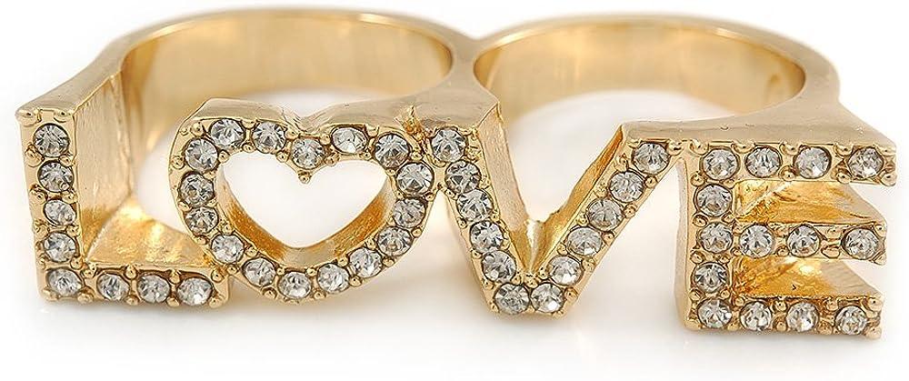 Avalaya - Anillo chapado en oro con doble dedo con diamantes de imitación «Love», tamaño 7 y 8 a 45 mm de ancho