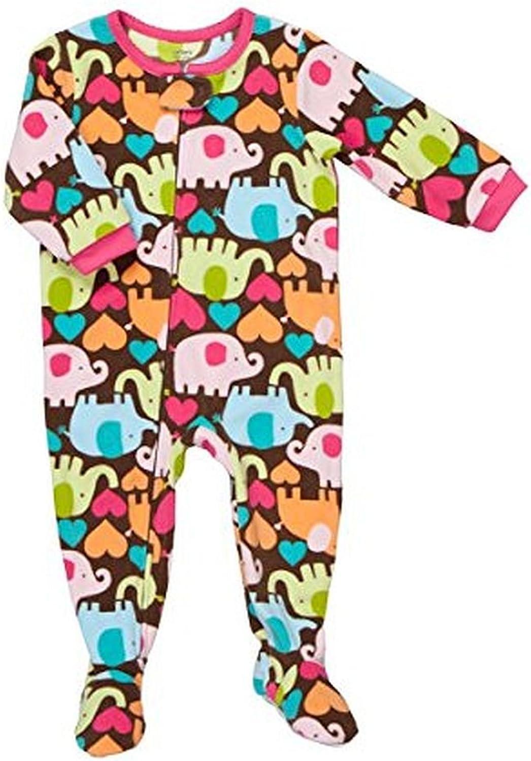 Carters Girls 3T Elephant and Heart Print Fleece Footed Pajama Sleeper