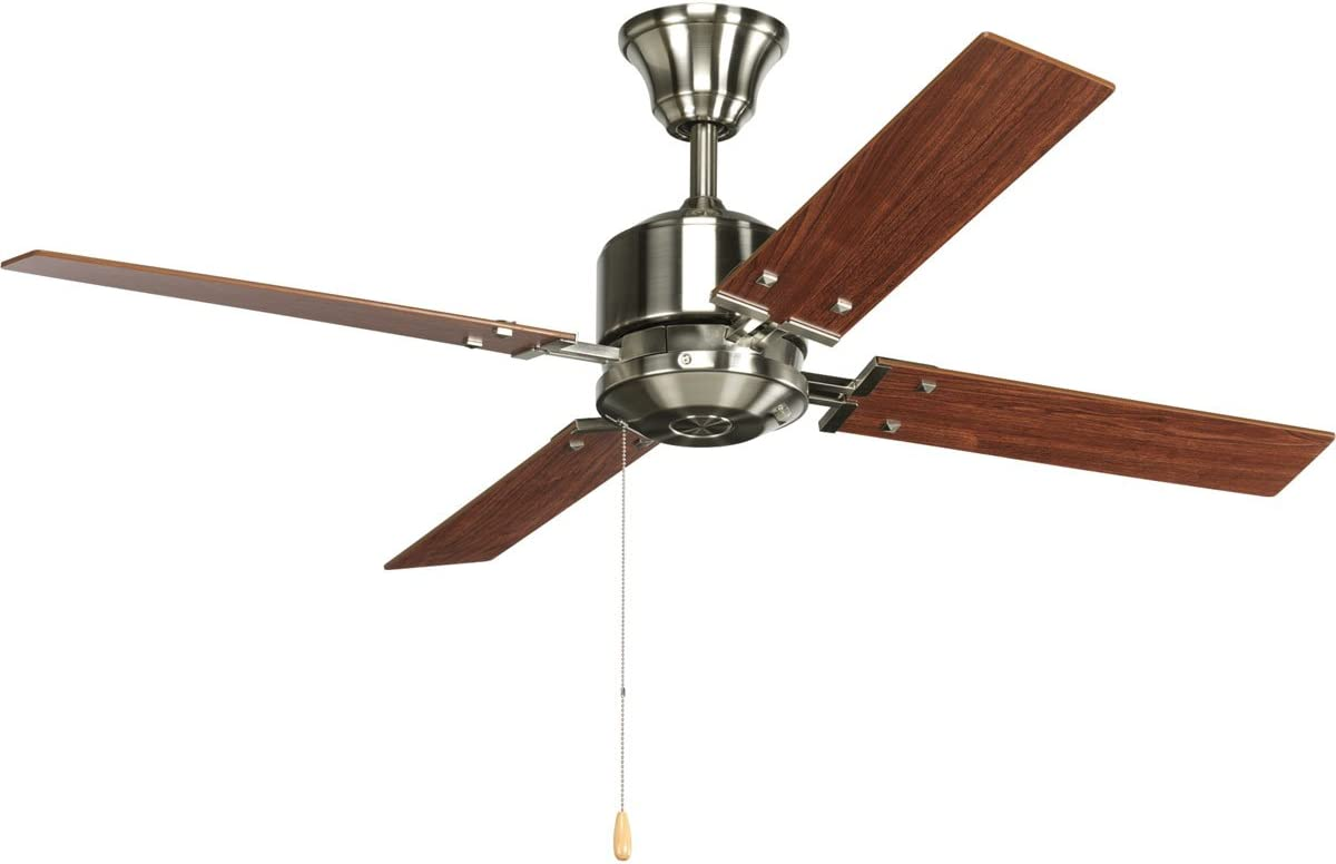 Progress Lighting P2531-09 North Park 52-Inch Ceiling Fan, Brushed Nickel Finish with Natural Cherry Cherry Blade Finish