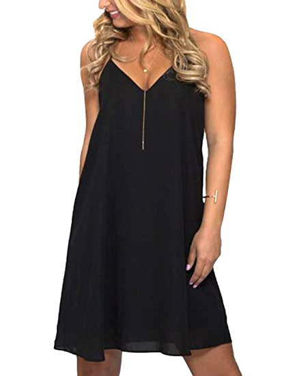 4018d90f0bf YOINS Women Sexy Deep V Neck Black Sleeveless Dress Open Back Mini A Line  Dress Black