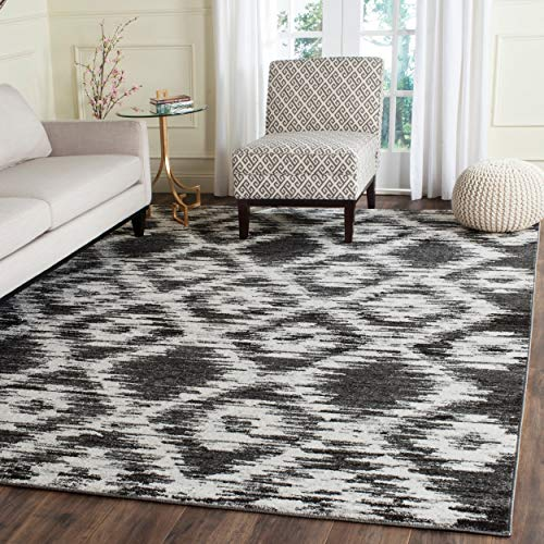 Cheap Safavieh Adirondack Collection ADR118R Charcoal and Ivory Modern Geometric Area Rug (9′ x 12′)