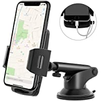 Emmabin Phone Holder for Car, Phone Mount Universal Windshield Car Mount Auto Suction Cup Windshield 360 ° Rotation with Extended Arm for Smartphone iPhone 6 6s 7 8 X Samsung HTC GPS Huawei