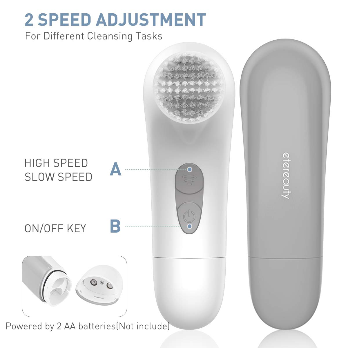 Facial Cleansing Brush, Waterproof Face Brush with 4 Brush Heads and a Protective Travel Case (Gray)