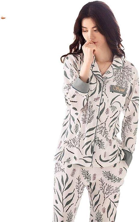 RGHOP Pijamas Mujer Otoño Invierno Algodón Mangas largas Solapas Inicio Ropa Trajes Ropa Externa, A, L: Amazon.es: Deportes y aire libre