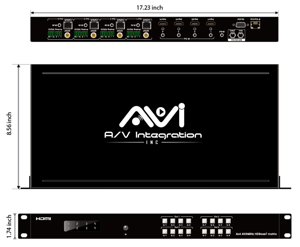 AVI HDBaseT HDMI 2.0 HDCP 2.2 4K 4X4 HDMI Matrix Extender Switcher With 4 POE Receivers Over Single Cat5e/6 Cable Supports Ultra HD 3D 60HZ @ 4Kx2K with Bi-directional IR (Matrix+4receivers) by AVI (Image #9)
