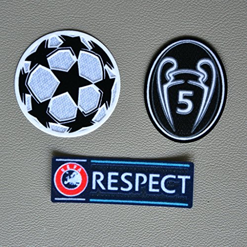 Uefa Champion League Respect and Trophy 5 Black Badge Patch Iron on Soccer Jersey for Bayern Munich