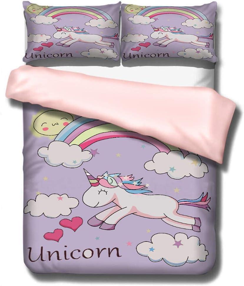 Allerassa Unicorn Duvet Cover Bedding Sets, Purple Kids Bedding Sets,Twin Size,1 Duvet Cover,2 Pillowcase (No Comforter Inside) (Purple, Twin)