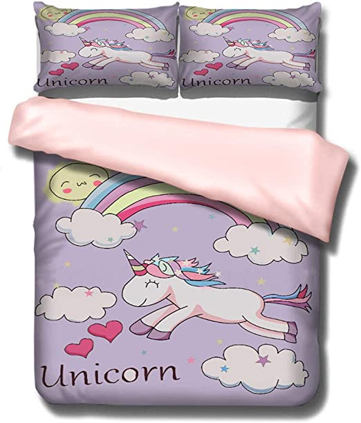 Girls Unicorn Kids Printed Poly Cotton Duvet Quilt Covers Bedding Sets 2 Sizes