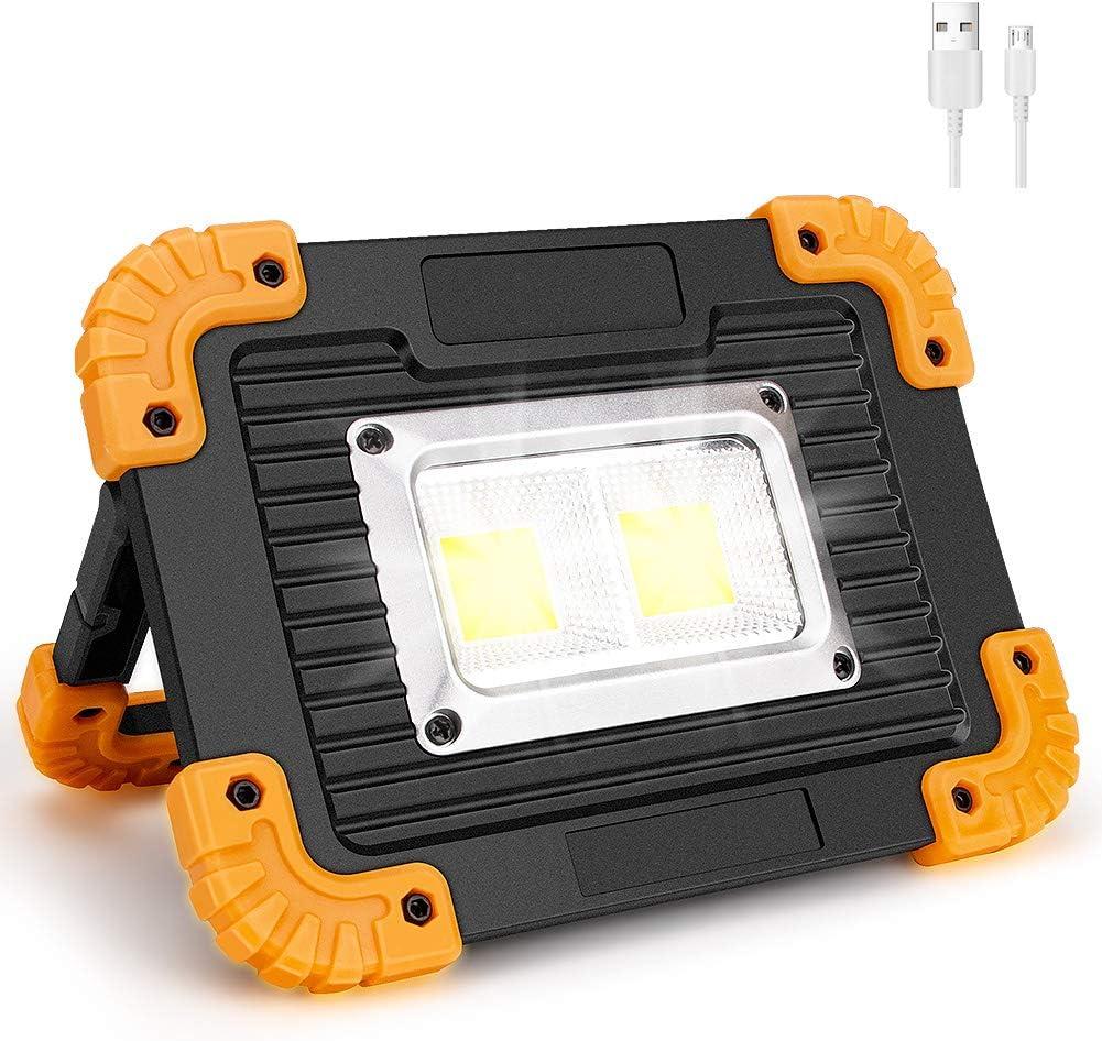 Coquimbo Foco LED Recargable COB Luz de Trabajo Port/átil 4 Modos 20W Resistente al Agua Bater/ías Recargables Incorporadas