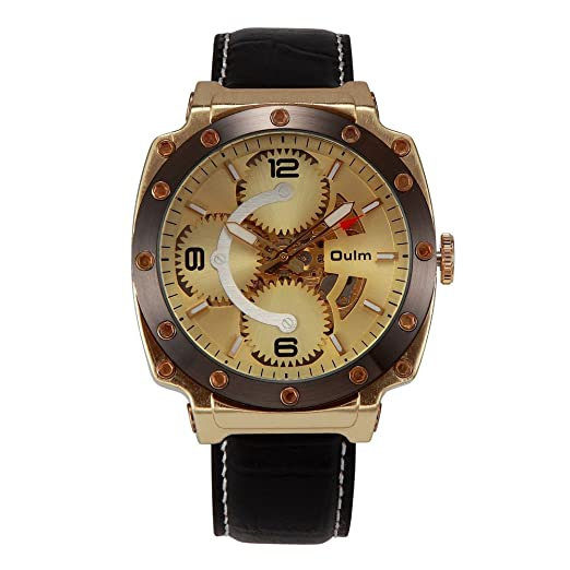 Oulm 3479 Hombres Reloj Automático Mecánico Hollow-Out macho Militar Dourado mecánico relojes reloj esqueleto