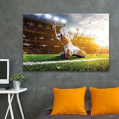 Pretty Craft, Sports Theme Soccer Player Kneeling on The Ground Celebrating a Goal, That You Will Love