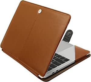 MOSISO Case Compatible with MacBook Air 13 2021-2018 A2337 M1 A2179 A1932, MacBook Pro 13 2021-2016 A2338 M1 A2251 A2289 A2159 A1989 A1706 A1708, PU Leather Folio Protective Stand Cover, Orange Brown