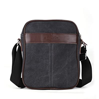 Amazon.com: Eshow Men's Small Canvas Crossbody Satchel Bag ...