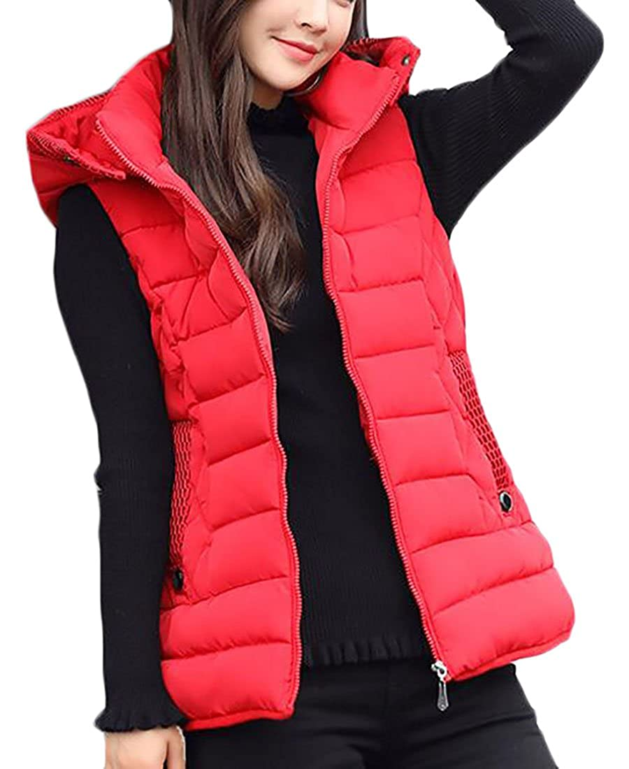 XTX Women Quilted Zip Gilet Hooded Sleeveless High Neck Vest Down Jacket
