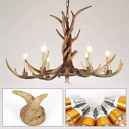 Dyrabrest Retro Resin Deer Horn Chandelier LED Lamp Antler Ceiling Fixture Light Pendant Light